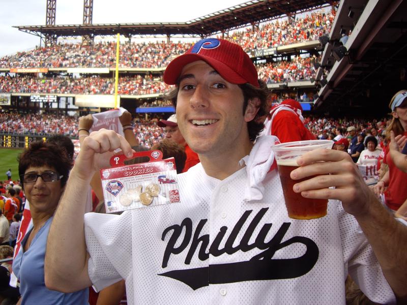 Lee eats Phillies cookies (& drinks Hop Devil beer @ the 2008 NL East Clincher!).
