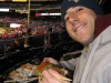 Lee eats World Series sushi (2008 WS Game 5a).