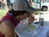 Lee eats hoagies.