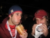 G eats a cheesesteak ... Lee drinks a hoagie thru an onion straw? (2009 WS Game 3 rain delay)