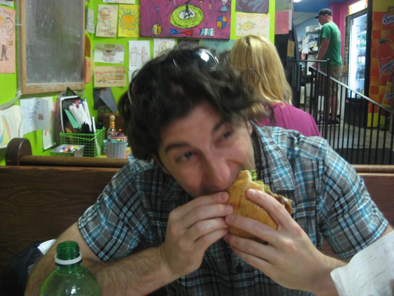 Lee eats an avocado & salsa verde burger (Sketch, Philly)