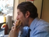 Lee eats a Charlie Brown (peanut butter & bacon) cheesesteak (Jake\'s, Philly)