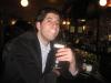 Lee eats/sniffs Irish coffees at the BV (Buena Vista, San Francisco)