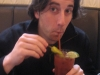 Lee drinks a Bloody Maria.