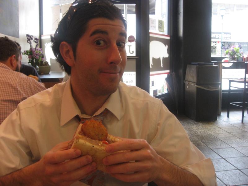 Lee gets ready to eat a Turducken sandwich (Jake\'s, Philly) ...