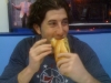 Lee eats a cheesesteak (post-Sixers game)