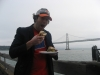 Lee still eats/is a (fried oyster) po\' boy (Hayes Street Grill, Ferry Building, San Francisco)