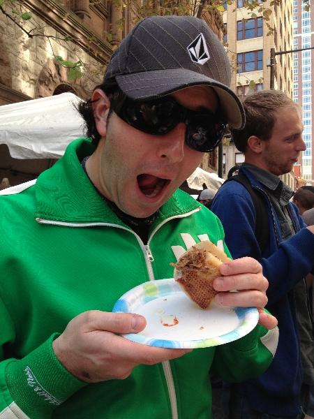 Lee eats Square 1682\'s goat cheesesteak
