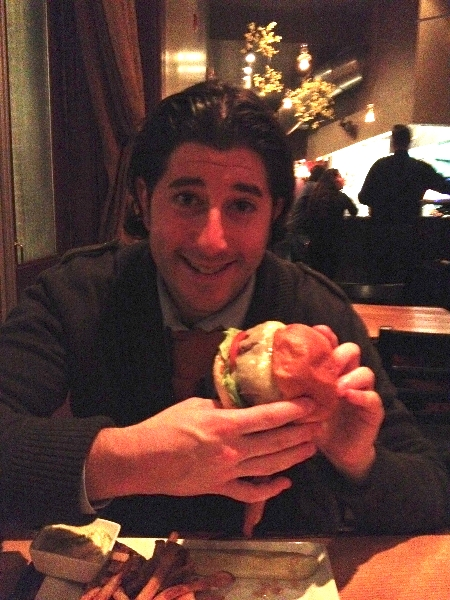 Lee eats Hickory Lane\'s burger (Philly)