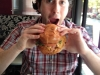 Lee eats a soft shell crab sandwich (Varga Bar, Philly)