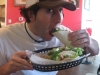 Lee eats fish tacos at Burrito Gallery Express (Jacksonville Beach)