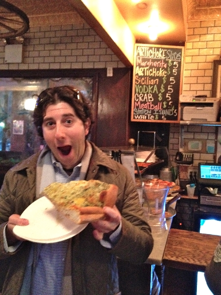 Lee eats artichoke pizza @ Basille\'s (NYC)