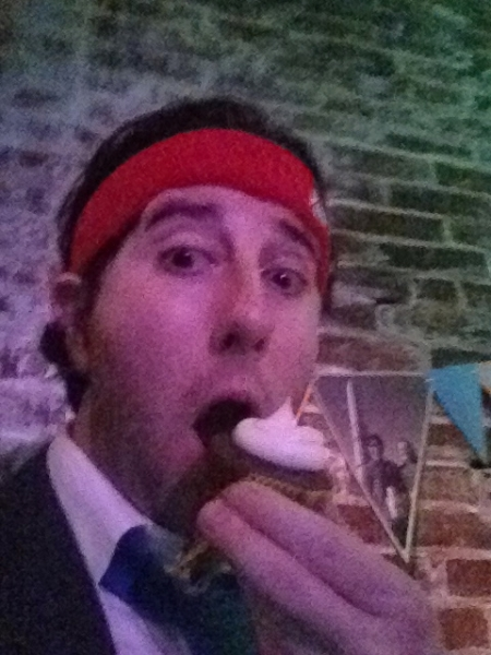 Lee eats a carbomb cupcake at Fishtown Beer Runners Prom (Philly)