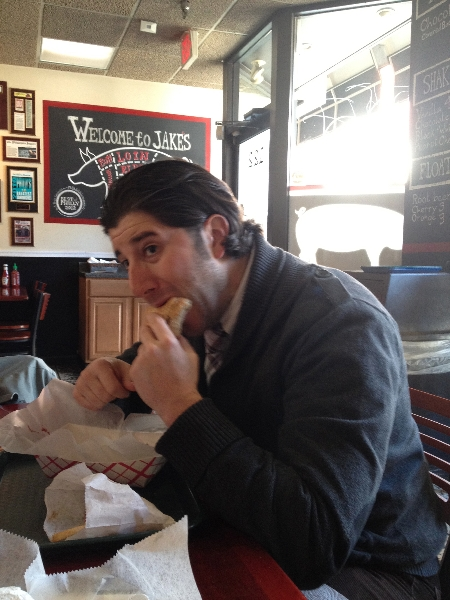Lee eats a turducken sandwich at Jake\'s (Philly)