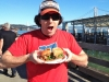Lee eats a Hayes St Grill fried oyster po-boy @ the Ferry Building (San Francisco)