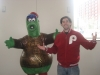 Lee shrugs with Independence Visitor Center Phanatic.