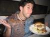 Lee shrugs at the Whiskey King burger (Village Whiskey, Philly)
