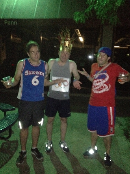 Sean, DNA & Lee shrug at olympic beer running
