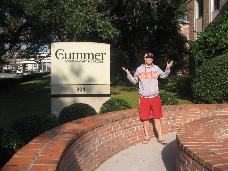 Lee shrugs at The Cummer (Museum)
