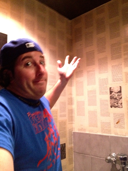 Lee shrugs @ Edgar Allen Poe restroom wallpaper (Jacksonville Beach)