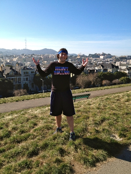 Lee shrugs atop this hill (San Francisco)