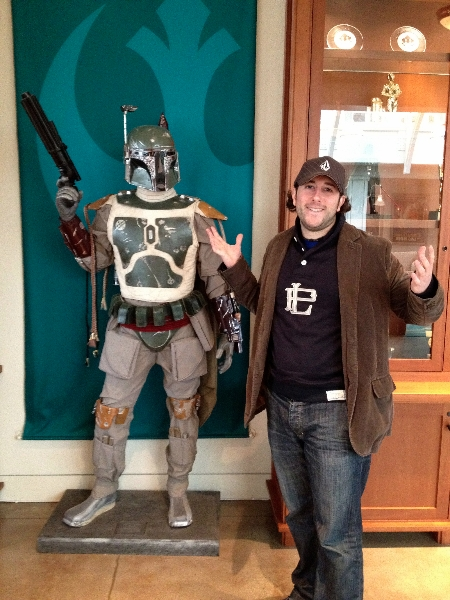 Lee shrugs at Boba Fett (Lucasfilms, San Francisco)