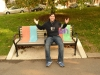 Lee shrugs at yarn-bombing (art by ishknits for MyRuinedLife.com's FABRIC episode)