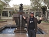 Lee shrugs at the Yoda Fountain (Lucasfilms, San Francisco)