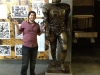 Lee shrugs w Chuck Bednarik statue @ Franklin Field (Philly)