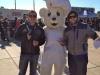 Lee & Taylor shrug at the Bimbo Bear (Union game)
