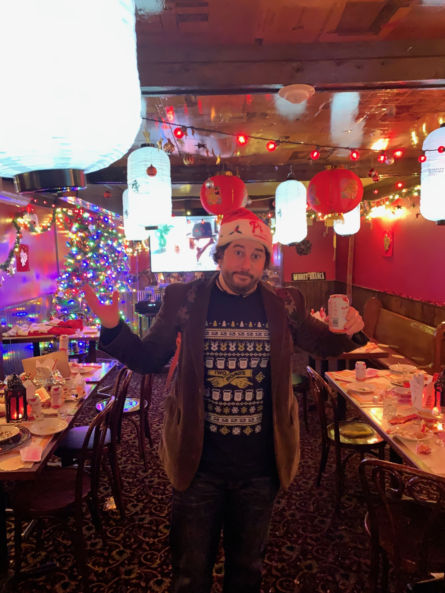 Lee shrugs at pop-up Chinese restaurant rooms at pop-up Xmas bars.