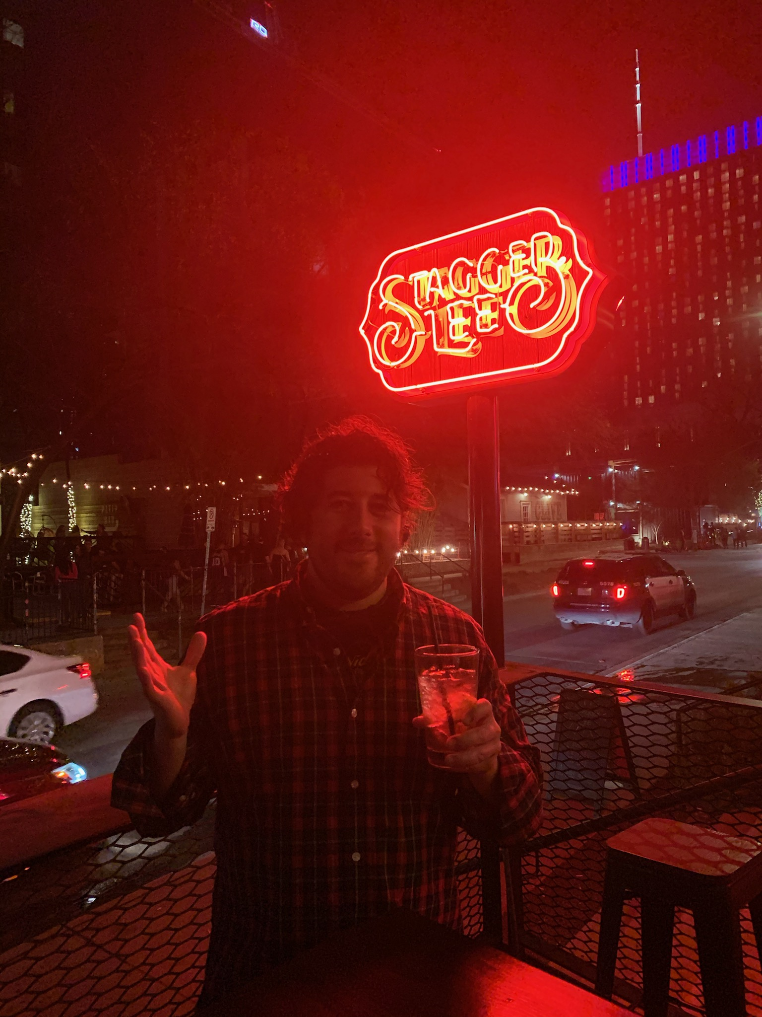 Lee shrugs at Stagger Lee in Austin, TX (Pre-Covid).