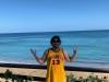 Lee shrugs at Rincon, Puerto Rico (Pre-Covid).