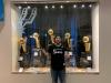 Lee shrugs w Spurs' trophies (Go Spurs Go!) (Pre-Covid)
